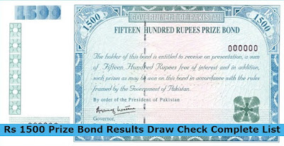 Rs 1500 Prize Bond Results Draw Check Complete List