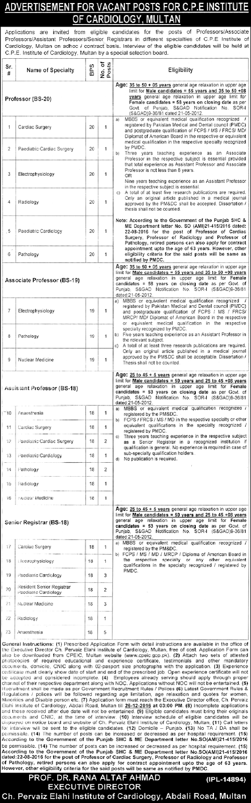 Chaudhry Pervaiz Elahi Institute Of Cardiology Multan Jobs