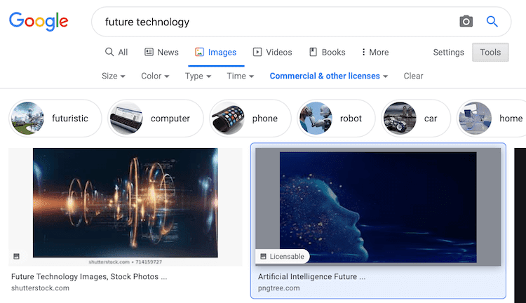 Google Showing Licensable Badge In Image Search Results