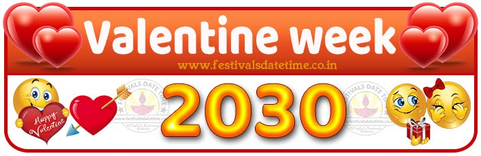 2030 Valentine Week List Calendar, 2030 Valentine Day All Dates & Day