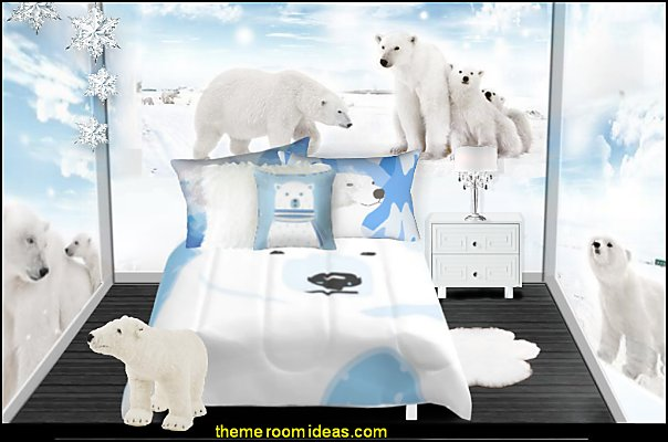 polar bear bedroomspolar bear bedrooms  polar bear bedrooms  polar bear bedding polar bear wallpaper mural polar bear pillows penguin bedrooms - polar bear bedrooms - arctic theme bedrooms - winter wonderland theme bedrooms - snow theme decorating ideas - penguin duvet covers - penguin bedding - Snow queen - winter wonderland party ideas - Alaska - White Christmas
