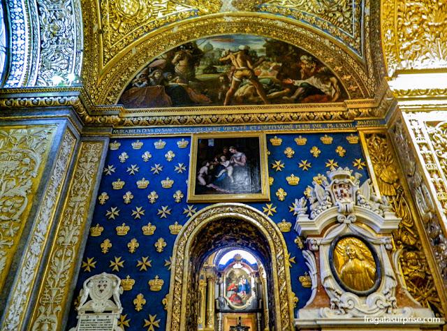 Capela dos Franceses, na Co-Catedral de São João, a igreja dos Cruzados em Valeta