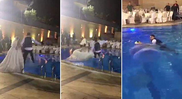 Νύφη έπεσε στην πισίνα με το νυφικό της. Όταν ο γαμπρός & οι καλεσμένοι είδαν ότι δεν βγαίνει στη επιφάνεια, πάγωσαν!