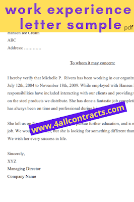 Sample Work Experience Letter PDF