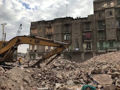 What remained from old residential buildings in the area