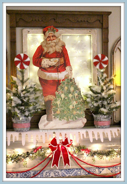 Vintage -Inspired -Cottage- Farmhouse -Christmas- Mantel-Santa-Christmas Trees-From My Front Porch To Yours