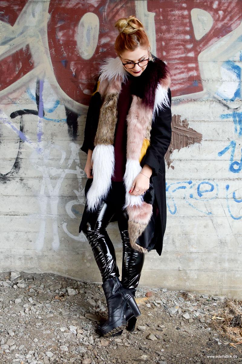 Outfit mit Lackleder, Look mit Lack Leder, Hose aus Lackleder von H&M