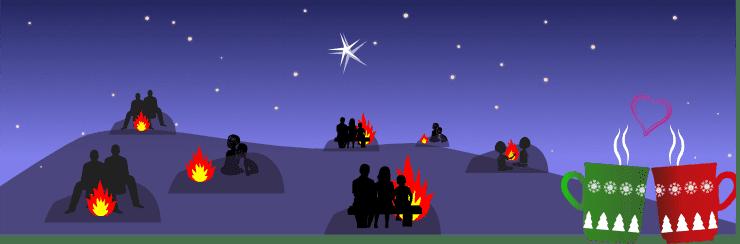 Feuer Winter-Sonnenwende Bischleben 2020 und Weihnachtsstern
