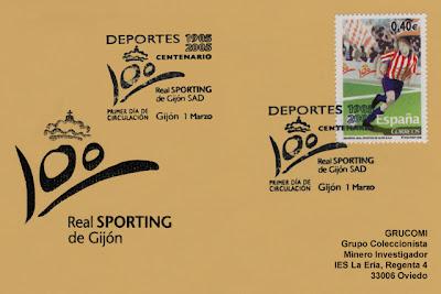 tarjeta, matasellos, filatelia, PDC, Sporting, Gijón, fútbol