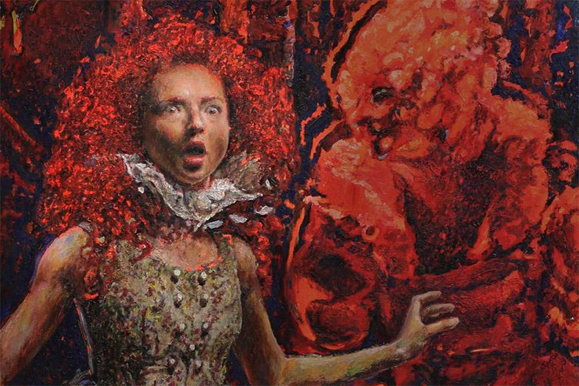 Макс Сір, Аліса у королівському дворі (деталь). Полотно, олія, 220×160 см