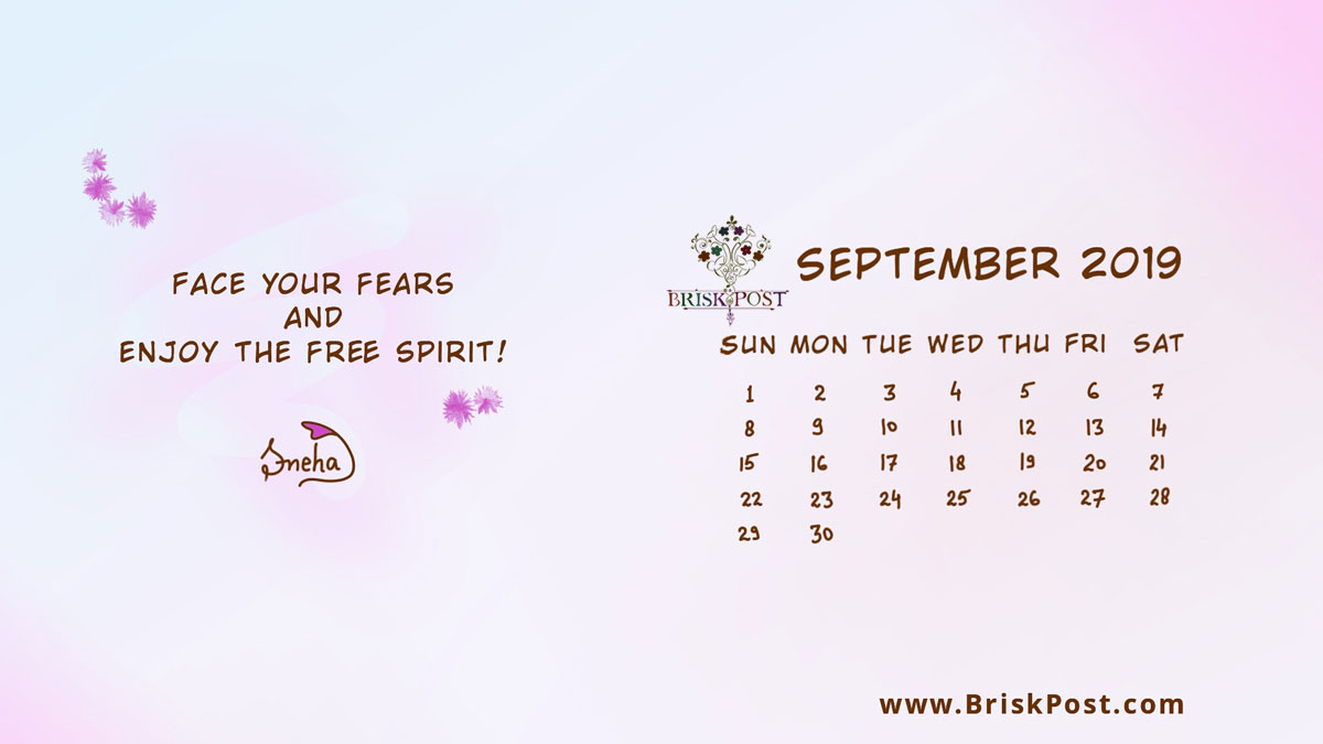 September 2019 calendar with fur illustration with purple-blue background and message, face your fears and enjoy the free spirit, celebrating positive attitude