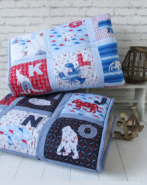 nautical baby blanket abc quilt blue white red