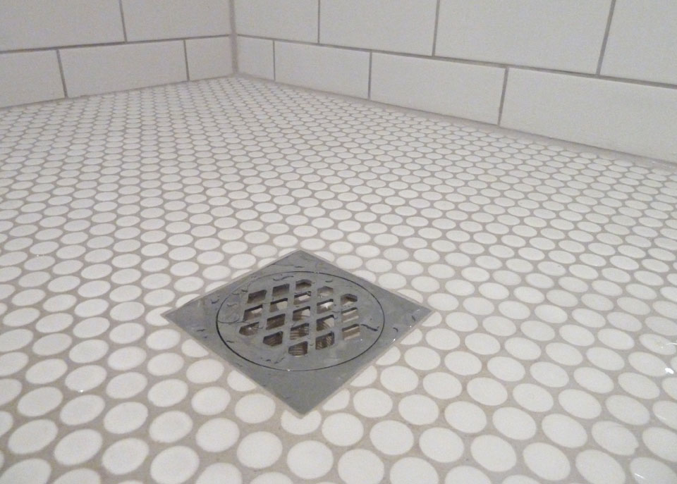 Our old house ensuite before during and after - Penny tile bathroom floor ...