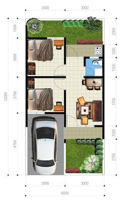 Denah rumah minimalis tipe 36  1 lantai