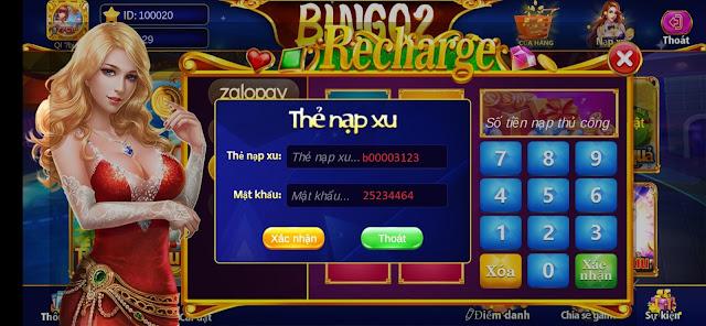 Ví dụ nhập code vip trong game BINGO2
