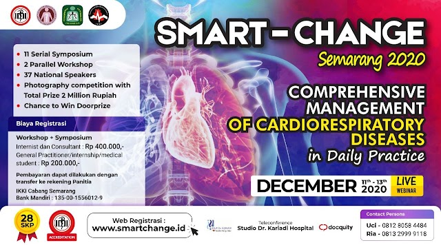 "Virtual Workshop and Symposium :  *SMART-CHANGE*   ""Comprehensive Management of Cardiorespiratory Disease in Daily Practice""    28 SKP IDI Accreditation"