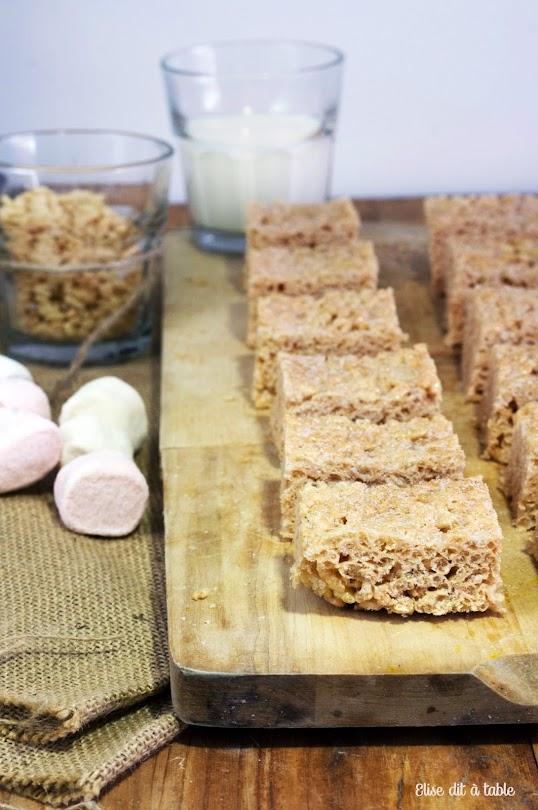 recette Barres de chamallow et rices krispies