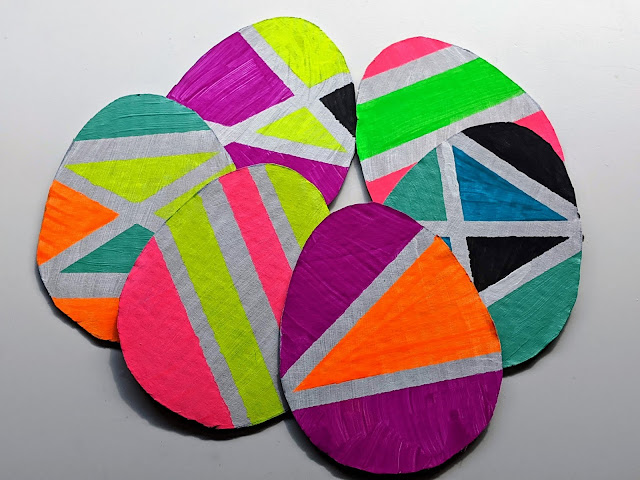 colorful cardboard Easter eggs to make with kids