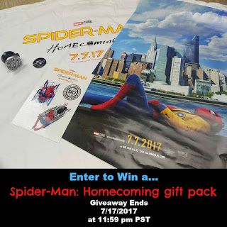 Enter the  Spider-Man: Homecoming Gift Packs Giveaway. Ends  7/17