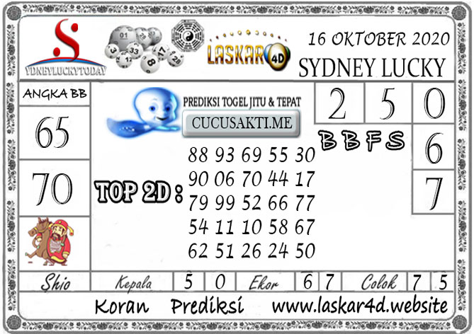 Prediksi Sydney Lucky Today LASKAR4D 16 OKTOBER 2020