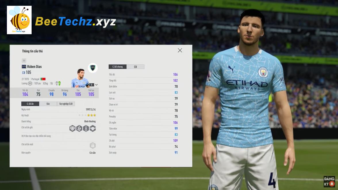 FIFA ONLINE 4 | Review Ruben Dias 21 TOTS - Lá chắn thép của Man City