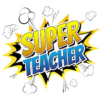 "illustrated cartoon caption ""Super Teacher"""