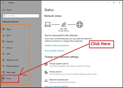 Proxy option on windows 10 settings