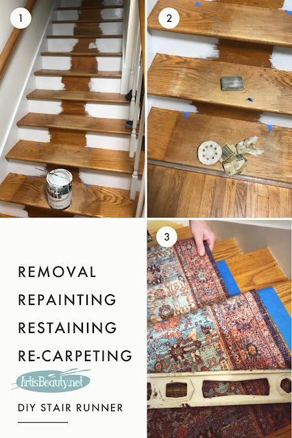 DIY STAIR RUNNER REMOVAL AND REPLACEMENT USING THROW RUGS ARTISBEAUTY.NET KARIN CHUDY BEFORE AND AFTER