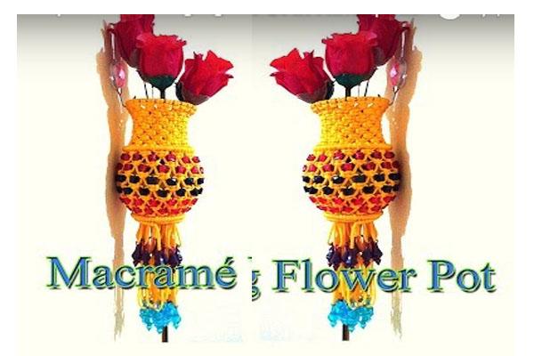 Unique Wall Hanging Macrame Handmade Flower Pot In Hindi Macrame
