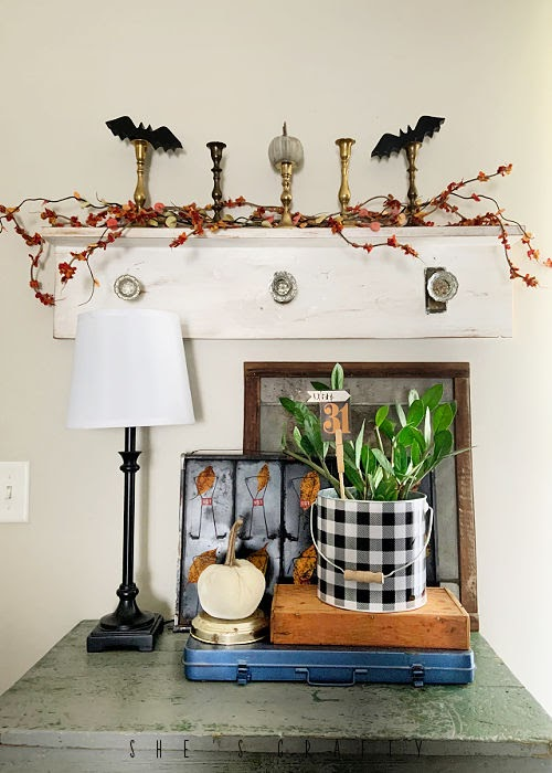 halloween home decor - entry table, bats, vintage layers
