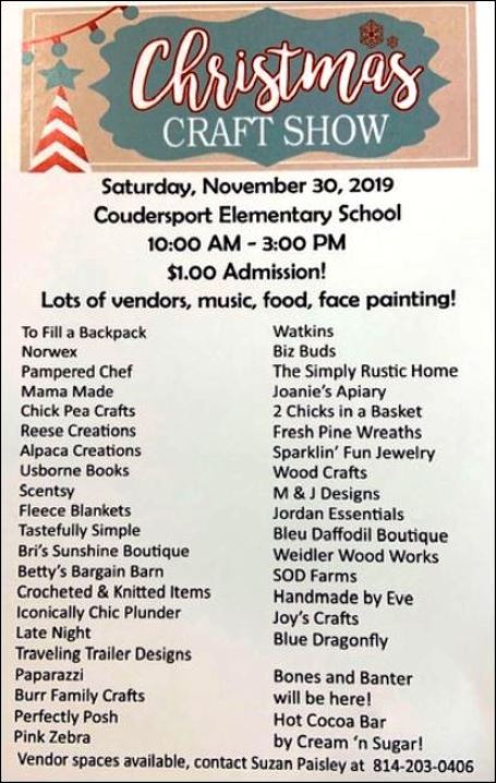 11-30 Christmas Craft Show, Coudersport