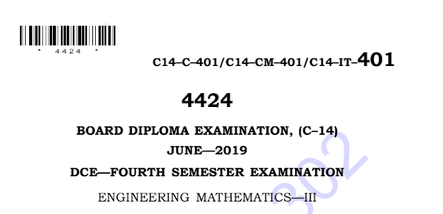 Sbtet Engineering Mathematics-3 Previous Question Paper c14 June 2019
