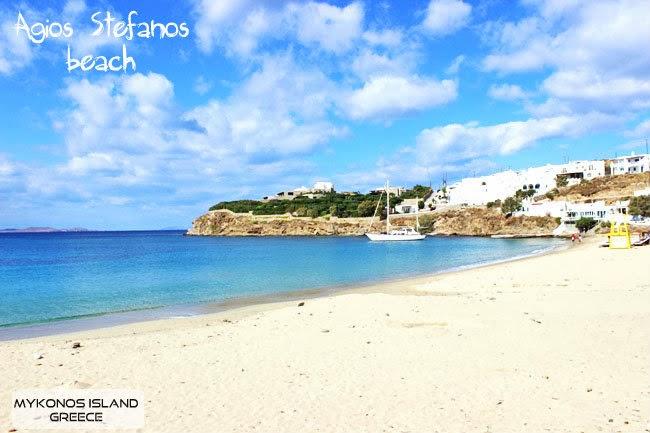 Agios Stefanos beach photos Mykonos island.Agios Stefanos plaza slike Mikonos ostrvo.