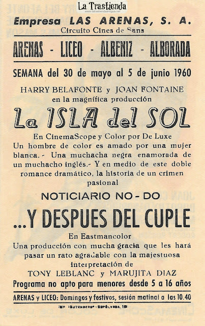 La Isla del Sol - Programa de Cine - Harry Belafonte - Joan Fontaine - James Mason - Joan Collins