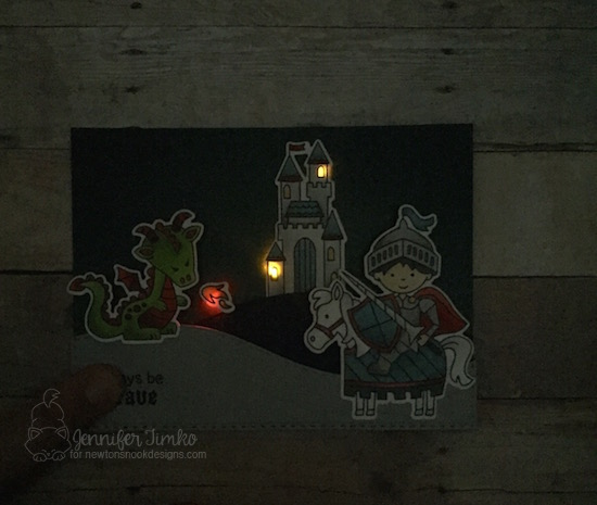 Knight and Dragon light up card by Jennifer Timko | Knight's Quest Stamp Set by Newton's Nook Designs with Chibitronics lights | #newtonsnook #chibitronics