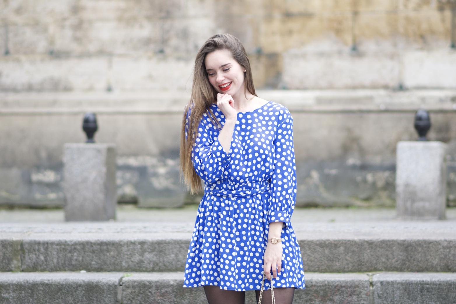 robe bleue à pois Zara5