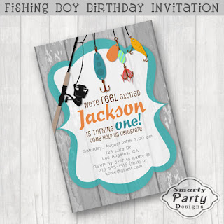 Super Cute Boys 1st First Fishing Birthday Invitation Featuring A Rod Reel And Colorful Lures On Grey White Washed Wood Teal Frame