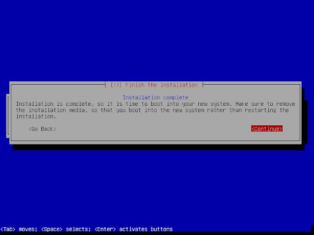 instalasi debian 9.6 selesai