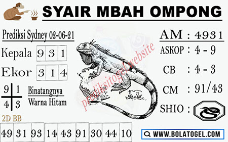 Syair Mbah Ompong Sydney Rabu 02-Juni-2021