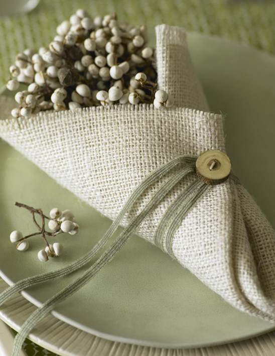 This simple DIY burlap project could hold silverware for a dinner party