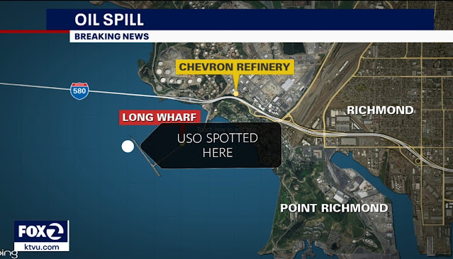 Map of the Richmond Oil Spill in the US.