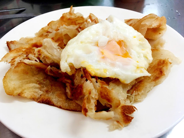 southern Thai roti with a fried egg