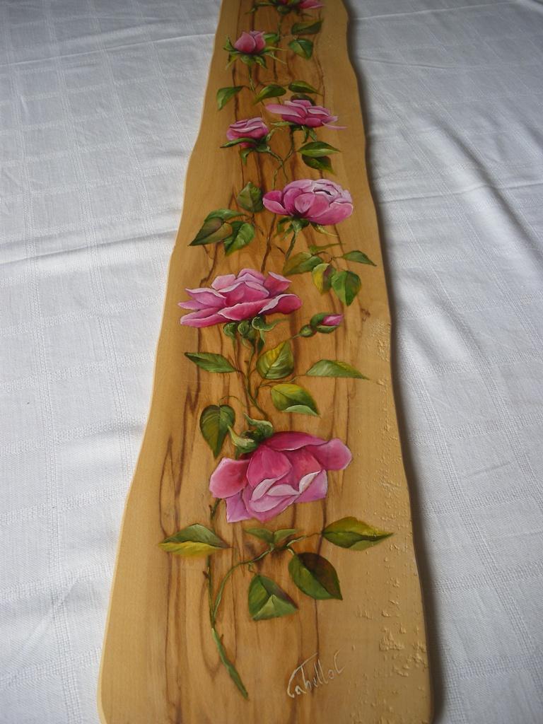 spesso Dipinti su legno e su pietra: Rose su tavola di ulivo VB89