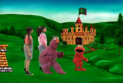 Telly, Elmo and Gabi see the number 1 on the flag of a castle. Sesame Street The Great Numbers Game