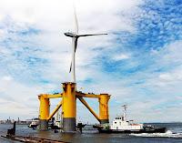 A semisubmersible platform holds first Fukushima wind turbine. (Image Credit: Fukushima Offshore Wind Consortium) Click to Enlarge.