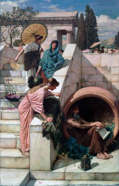 """""""Diogenes"""" (1882), pintura de John William Waterhouse  (1849–1917) pertencente ao acervo da Art Gallery of New South Wales, Austrália."""
