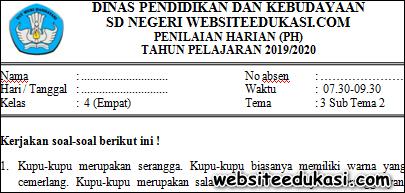 Soal PH / UH Kelas 4 Tema 3 Subtema 2 K13