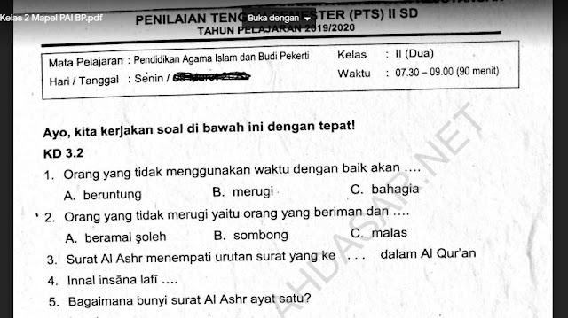 Soal Penilaian Tengah Semester 2 Kelas 2 Mapel PAI BP
