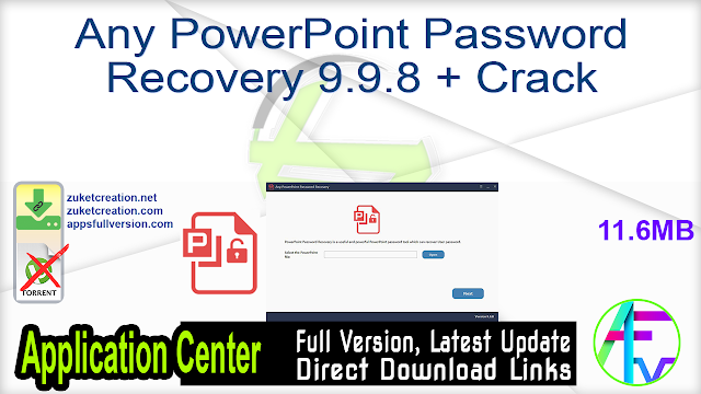 Any PowerPoint Password Recovery 9.9.8 + Crack