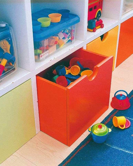 Colorful Kids Room Shelves